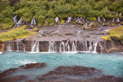 Hraunfossar, waterfalls in western Iceland Stock Photos