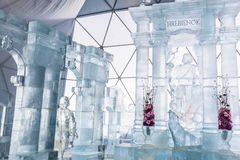 HREBIENOK, ESLOVAQUIA - 6 DE ENERO DE 2016: Altar del hielo en la casa de Tatras, hora Fotos de archivo libres de regalías