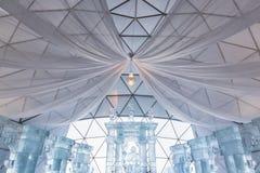 HREBIENOK, ESLOVAQUIA - 6 DE ENERO DE 2016: Altar del hielo en la casa de Tatras, hora Imagen de archivo libre de regalías