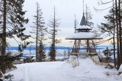Wooden viewpoint in the popular ski and hiking Hrebienok resort. Hrebienok resort altitude 1285 m. located in the High Tatras mountains National park. Slovakia Royalty Free Stock Photo