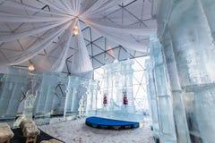 HREBIENOK, SLOVACCHIA - 6 GENNAIO 2016: Altare del ghiaccio nella Camera di Tatras, ora Immagini Stock Libere da Diritti