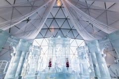 HREBIENOK, SLOVACCHIA - 6 GENNAIO 2016: Altare del ghiaccio nella Camera di Tatras, ora Fotografia Stock
