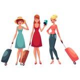 Hree flickor, i klänningen och jeans som reser samman med resväskor royaltyfri illustrationer