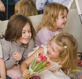 Hree little girls at birthday party having fun Stock Photos