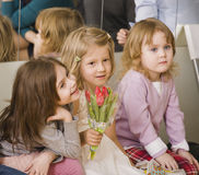 Hree little girls at birthday party having fun Stock Photo