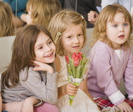 Hree little girls at birthday party having fun Stock Photography
