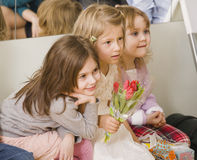 Hree little girls at birthday party having fun Royalty Free Stock Photo
