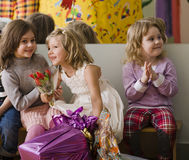 Hree little girls at birthday party having fun Royalty Free Stock Photography