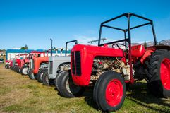 Old vintage tractors on a field royalty free stock image