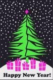 Hristmas и Новый Год поздравительная открытка вектора с рождественской елкой иллюстрация штока