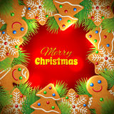 Сhristmas background with gingerbread Royalty Free Stock Photos