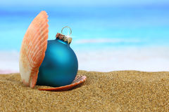 Hristmas ball in a sea shell on the beach Stock Photos