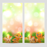 Сhristmas banner or background with gingerbread Royalty Free Stock Photography