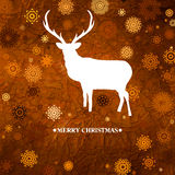 Сhristmas card with reindeer and snowflakes. EPS 8 Stock Images