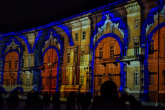 Hristmas colorful light show at the Palace Square Stock Image