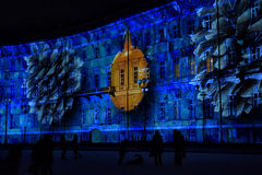 Hristmas colorful light show at the Palace Square Royalty Free Stock Photography