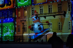 Hristmas colorful light show at the Palace Square Stock Images