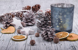 Сhristmas decoration. Christmas decoration on wooden table Royalty Free Stock Photo