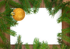�hristmas decoration with greeting card isolated. On wooden background Stock Photo