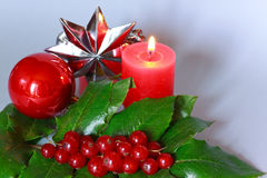 Hristmas decoration with holly leaves and berries Royalty Free Stock Image