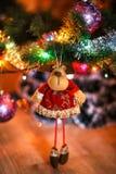 Сhristmas deer stuffed toy on Christmas tree. Royalty Free Stock Photos