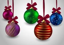 Hristmas di inverno di festa del fondo delle palle di Natale Fotografia Stock Libera da Diritti