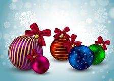 Hristmas di inverno di festa del fondo delle palle di Natale Immagini Stock