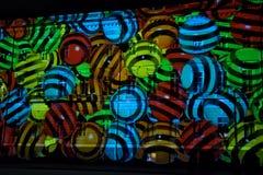 Hristmas färgrik ljus show på slottfyrkanten Arkivfoto