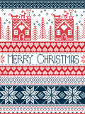 Hristmas, festive winter seamless pattern in cross stitch with gingerbread house, Christmas tree, heart, reindeer in blue, red. Merry Christmas Scandinavian Stock Image