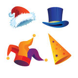 Hristmas-hat. A set of hats to the Carnival, Christmas and New Year Royalty Free Stock Images