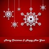 Hristmas-Hintergrund mit Schneeflocken Stockbilder