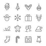 Hristmas line icon set. Line icon set for your work. It`s easy to use stock illustration