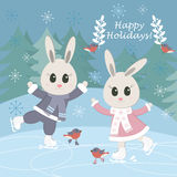 Сhristmas postcard with funny bunnies and birds skating. Vector illustration Stock Photos