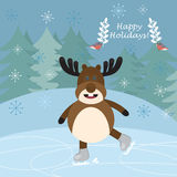 Сhristmas postcard with funny deer skating. And birds. Vector illustration Royalty Free Stock Photo