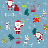Сhristmas postcard with Funny Santa Clauses, bunnies, birds and Stock Photo