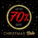 Сhristmas sale up to 70% off star banner. Christmas sale design template with text up to -70% off in shine ball and golden stars on black background. Vector Stock Photo