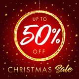 Сhristmas sale up to 50% off star banner. Christmas sale design template with text up to -50% off in shine ball and golden stars on red background. Vector Stock Image