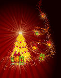 Сhristmas tree with gifts on a red background. Stock Photography