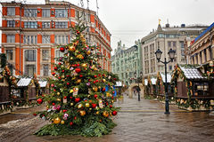 Сhristmas tree at the street market Royalty Free Stock Image
