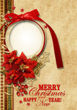 �hristmas vintage background with gorgeous frame Stock Photo