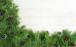 ? hristmasgirlanden med undecorated ren grön naturlig gran förgrena sig med kottar på vit träbakgrund Fotografering för Bildbyråer