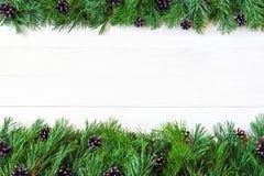 ? hristmasgirlanden med undecorated ren grön naturlig gran förgrena sig med kottar på vit träbakgrund Arkivfoto