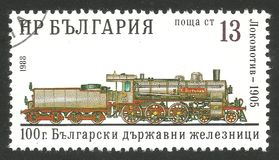 Hristo Botev locomotive. Bulgaria - CIRCA 1988: Stamp printed by Bulgaria, Multicolor memorable edition offset printing on the topic of railway and steam Stock Image