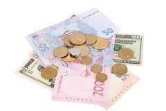 Hrivna and dollar Stock Photos
