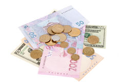 Hrivna and dollar. Ukrainian and American money isolated on white Stock Photos