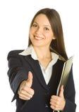 härlig affärskvinnaclipboardholding Arkivfoton