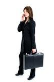 härlig affärsmobiltelefonkvinna Arkivfoto