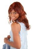 Härlig afrikansk amerikanLady Looking Baksida Fotografering för Bildbyråer