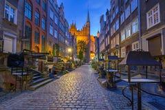 Härlig arkitektur av den Mariacka gatan i Gdansk Arkivfoton