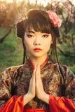 Härlig asiatisk kvinna i den sakura blomningen Royaltyfria Bilder